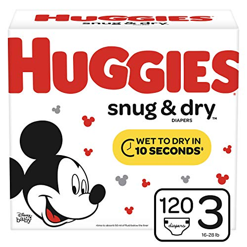 Huggies Snug & Dry Diapers, Size 3 (16-28 lb.), 120 Ct, Giga Jr Pack (Packaging May Vary) (Huggies Little Movers Size 3 28 Count)