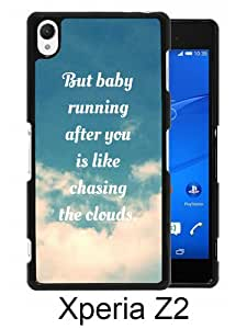 Fashionable Sony Xperia Z2 Case ,Unique Designed With 1d clouds lyrics one direction Favim black Sony Xperia Z2 Cover High Quality Phone Case