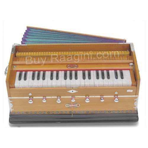 Harmonium, Musical Instrument, BINA No. 9A, In USA, 3 1/2 Octaves, 7 Stops, Standard, Tuned To A440, Natural Color, Coupler, Special Double Reeds, Bag, Book, (PDI-AGE) by Bina