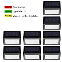 [8 Pack]Outdoor LED Solar Step Light,Enkman [Upgraded Version] Wireless Waterproof Super Bright White Lamp for Steps Decks Pathway Yard Stairs Fences