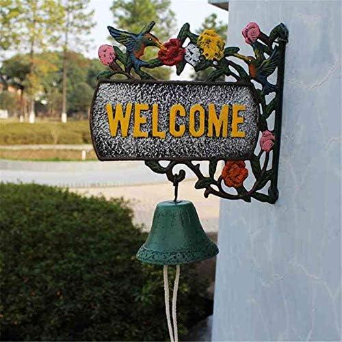 アンティークドアベル 呼び鈴を振る鋳鉄壁掛けベルようこそログイン装飾ヴィンテージグリーンの花のつるラブリー鳥手動 鋳鉄の装飾的なドアベル (Color : Brass, Size : 37X28X11.5CM)