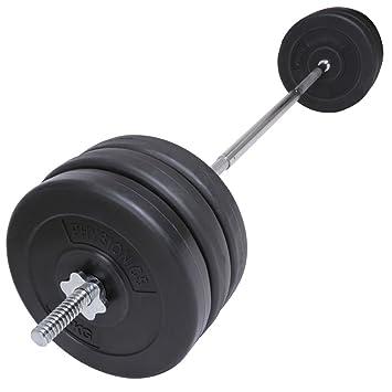 Physionics® - Barra de musculación con Discos de Pesas (2X 5 kg y 4X