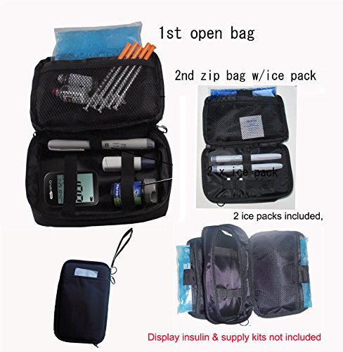 Chillpack Double Bag Diabetic Travel Organizer Cooler Bag for Insulin, Supply Kits with 2 x ice Pack Included, Black (Kit Travel Case)