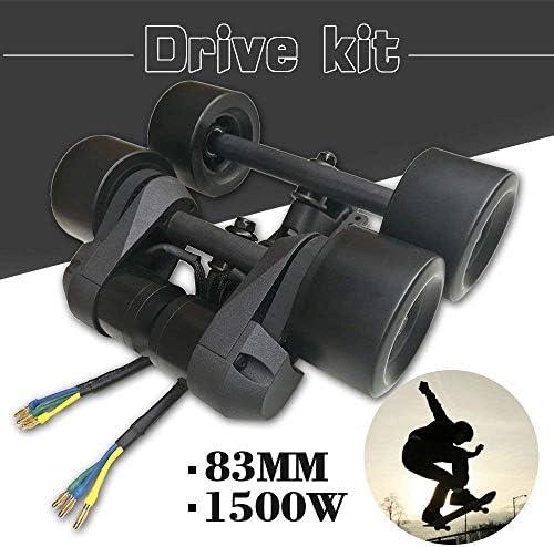 YOUMI Kit d'entraînement de Skateboard électrique Double Roue motrice Moteur brushless 1500W Conduction par Courroie Roue PU Haute élasticité 83MM / 90MM, Noir,Noir