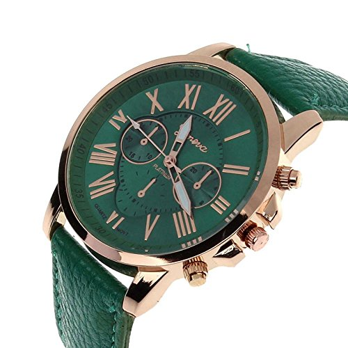 Winhurn Fashion Faux Leather Analog Quartz Women Wrist Watch with Roman Numerals (Dark Green)