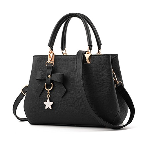 Casual Womens Tote Black Bag amp; Handbags Fashion BLACK Shoulder PU Leather URAQT Ladies Pink Shoulder Bags Work Bag rr4xAq7v