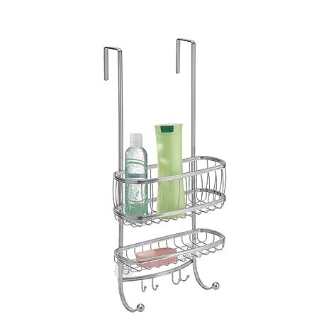 mDesign Elegant Stainless Steel Shower Caddy - Over The Door Shower ...