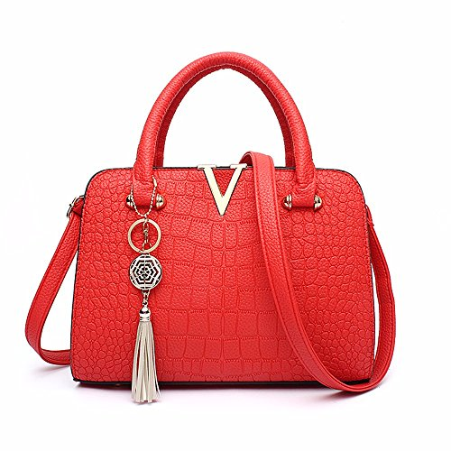 Crossbody de Simple Bolso de Mujer rojo Bolso Bag Negro para Mano CCZUIML Mano ZAUIxqS
