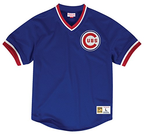 Chicago Cubs Mitchell & Ness Men's Mesh V-Neck Jersey Blue (X-Large)