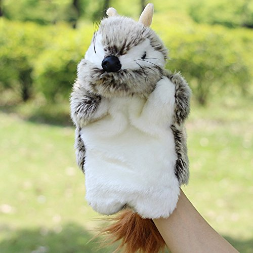 BIBITIME Kids Puzzle Toys Story Game Education Props Baby Toys Squirrel Plush Hand Puppet Animal Hand Dolls,Grey Voles,10.63 IN