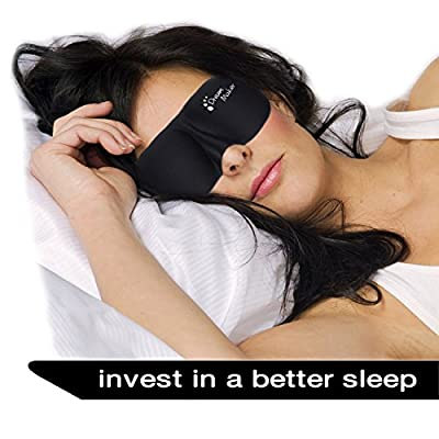 Sleep Mask - New Design by DREAM MAKER® - Anti-Aging (Ultra Soft Silk) Eye Mask for Sleeping, Contoured Eyemask Silk Blindfold with Ear Plugs Travel Pouch, Best Night Blinder Eyeshade - Men Women Kids