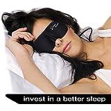 Sleep Mask - New Design by DREAM MAKER® - Anti-Aging (Ultra Soft Silk) Eye Mask for Sleeping, Contoured Eyemask Silk Blindfold with Ear Plugs Travel Pouch, Best Night Blinder Eyeshade - Men Women Kids