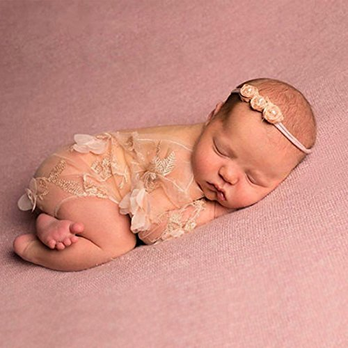 Mummyhug Newborn Baby Photography Prop Lace Patal Baby Girl Romper Outfit Clothes (#1) by Mummy Hug