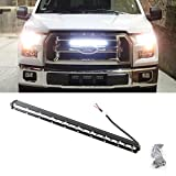 """iJDMTOY 20"""" Ultra Slim 54W High Power CREE LED Light Bar with Behind Grill Mounting Bracket Complete Set For 2015-up Ford F-150"""