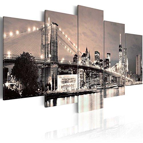 murando - Cuadro en Lienzo 200x100 cm New York Impresion de 5 Piezas Material Tejido no Tejido Impresion Artistica Imagen Grafica Decoracion de Pared Ciudad 030202-11