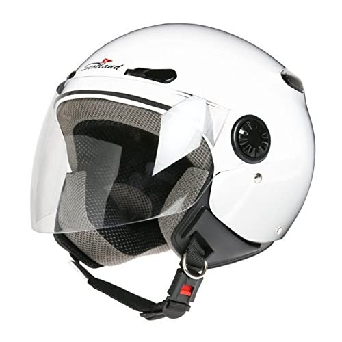 Scotland D/Jet - Casco con Visera Larga, Blanco, 57 (M)