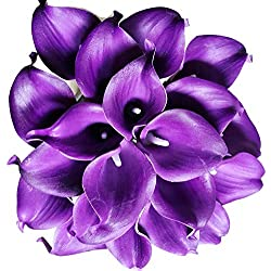 Floral Kingdom 18 PCS Real Touch PU Latex Artificial Calla Lily Flowers for Wedding Bouquets, centerpieces, and Floral Decor (Royal Purple)
