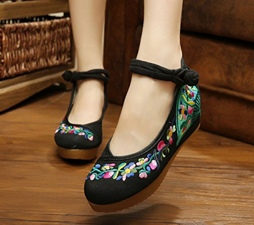 Avacostume Mujeres Embroidery Flower Casual Oxfords Sole Party Zapatos De Vestir Negro
