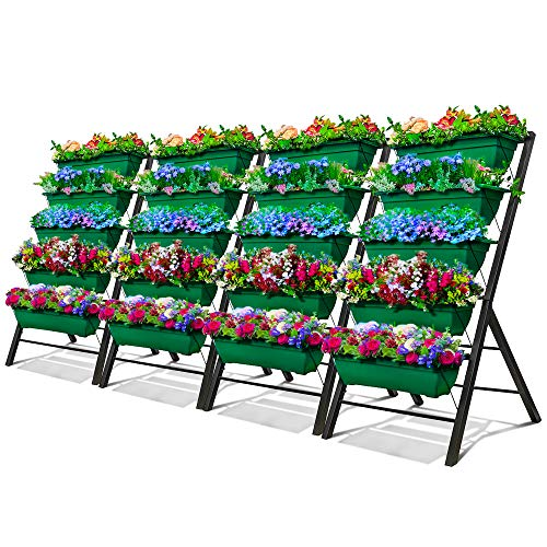 4-Ft Raised Garden Bed - Vertical Garden Freestanding Elevated Planters 5 Container Boxes - Good for Patio Balcony Indoor Outdoor - Cascading Water Drainage to Grow Vegetables Herbs Flowers (4-Pack)