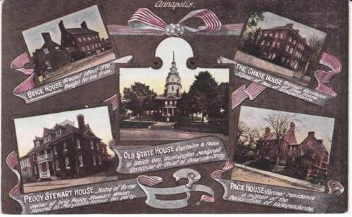 A Multi View Postcard of Annapolis with Train Timetable and Prices