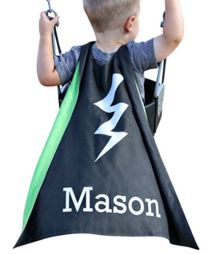 Personalized Kids Cape Costumes (Black Bolt), Girls and Boys Superhero Costume and Dress Up Costume, Personalized Bolt Superhero Cape for Kids, Little Kids Cape, Custom Super Hero Capes for Kids