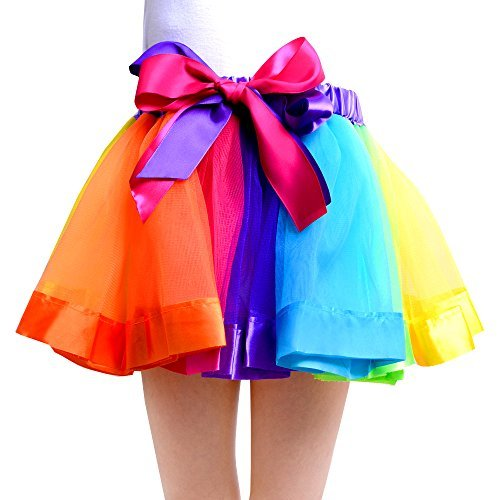 Ribbon Dance Costume (JISEN Girls Layered 7 Color Rainbow Ribbon Tutu Skirt Dance Dress 7-9 Years Old)