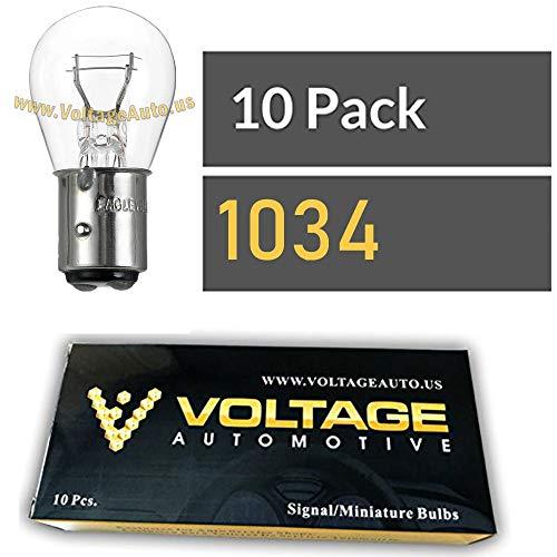 Voltage Automotive 1034 Brake Tail Light Bulb Turn Signal Bulb Side Marker Light Bulb (Box of 10)