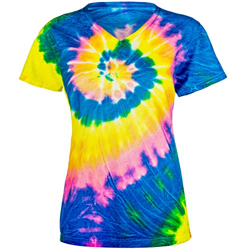 Magic River Ladies V Neck Tie Dye T Shirts - Neon Rainbow - Women's Medium ()