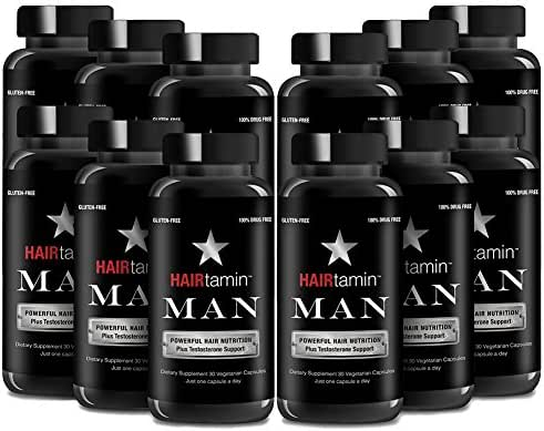 HAIRtamin Man Hair Growth Vitamins - Best Mens Biotin Fast Hair Growth Formula Vitamin Supplement for Thicker Fuller Healthier Hair (12 Month - 360 Capsules)