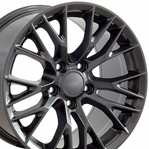 (OE Wheels 18 Inch Fits Chevy Corvette Camaro Pontiac TransAm C7 Z06 Style CV22 18x10.5/17x9.5 Rims Gunmetal SET)