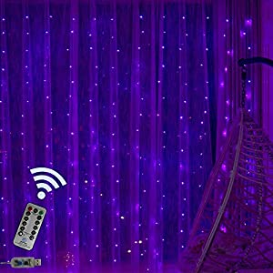 Obrecis Romantic Purple Icicle Curtain Lights 300 LED 8 Modes Remote Copper Starry String Fairy Lights Decor for Wedding, Party, Proposal, Indoor Outdoor Wall-9.8ft x 9.8ft(Purple)