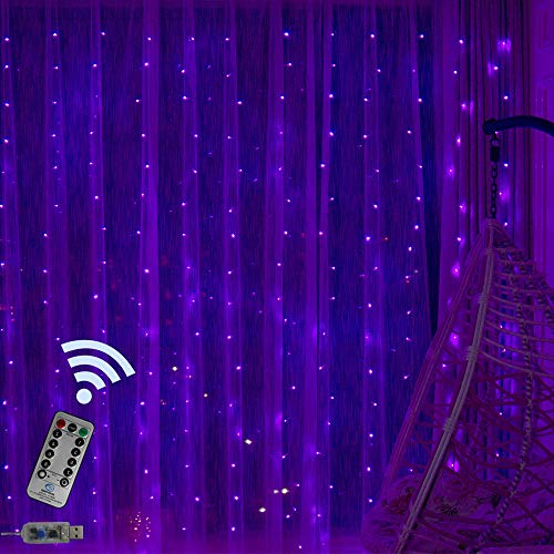Obrecis Romantic Purple Copper Curtain Lights 300 LED 8 Modes Remote Icicle Starry String Fairy Lights Decor for Wedding, Party, Proposal, Indoor Outdoor Wall-9.8ft x 9.8ft(Purple)