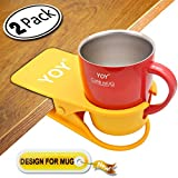 YOY 2 Pack Drink Cup Holder Clip - Table Desk Side Water Glass Beer Bottle Beverage Soda Coffee Mug Holder Cup Saucer Clip Design for Home Office, Yellow