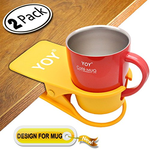 YOY 2 Pack Drink Cup Holder Clip - Table Desk Side Water Glass Beer Bottle Beverage Soda Coffee Mug Holder Cup Saucer Clip Design for Home Office, Yellow by YOY