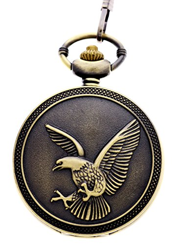 (Vintage Retro Bronze Eagle Steampunk Unisex Quartz Fob Chain Pocket Watches)