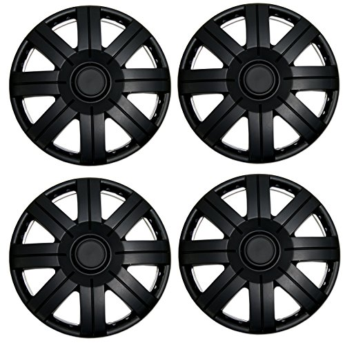TuningPros WSC3-613B15 4pcs Set Snap-On Type (Pop-On) 15-Inches Matte Black Hubcaps Wheel Cover