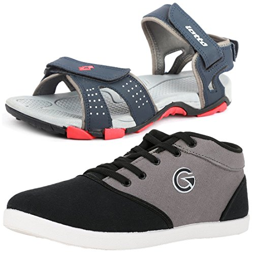 Lotto Mens's Combo Of Sandal & Globalite Casual Shoes GT7144_461P