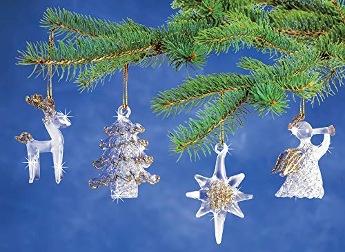 Reindeer Spun Glass (Spun Glass Ornaments, Christmas Tree Ornament Decorations, Set of 4, Reindeer, Star, Tree Angel Whimsical Xmas Ornaments)