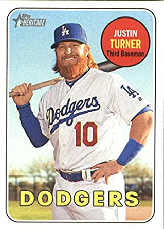 newest collection 0f0e7 d6968 2018 Topps Heritage #312 Justin Turner Los Angeles Dodgers Baseball Card