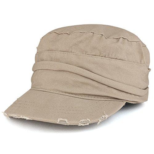 Vintage Frayed Wrinkled Elastic Band Cadet Style Army Cap - -