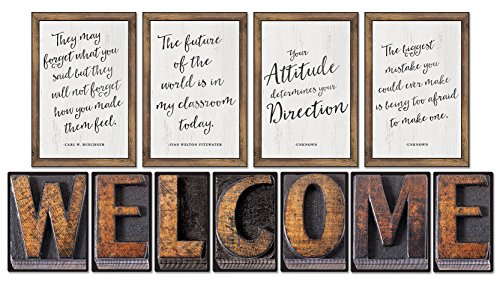 Schoolgirl Style Industrial Chic Bulletin Board Set, Welcome (Carson Dellosa Posters)