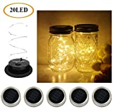 5 Pack Mason Jar Lights, 20 LED Solar Warm White Fairy String Lights Lids Insert for Garden Deck Patio Party Wedding Christmas Decorative Lighting Fit for Regular Mouth Jars