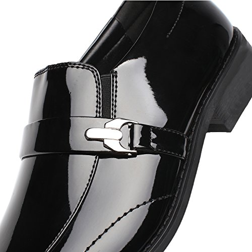 Faranzi Patent Leather Tuxedo Strap and Buckle Slip-on Loafer Oxford Shoes For Men Dress Shoes Zapatos de Hombre Comfortable Classic Modern Formal Business Shoes Sensus-1-black Kwerg
