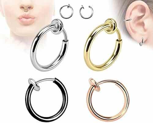 (4pcs) Spring Action Titanium IP Non-Piercing Septum, Ear & Nose Hoops