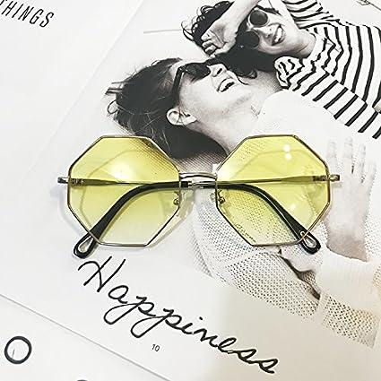 Sunyan Polygonale Sonnenbrille Big Box Street pat soft Schwester Gläser net Rot im gleichen Stil Sonnenbrille Frau Su Yan Ocean, schwarz