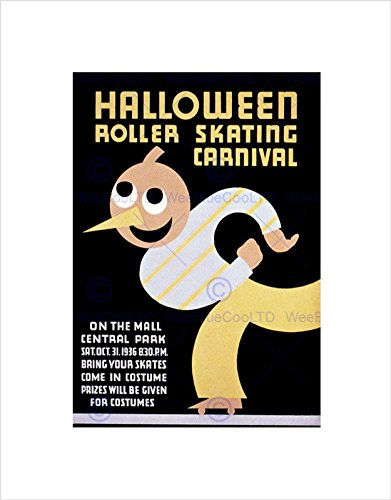 Sport Roller Skating Halloween Chicago USA Vintage Art Print B12X2828