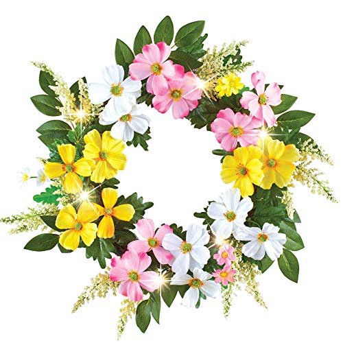 Collections Etc Dogwood Floral Spring Wreath with LED Lights and Lush Greenery, Hook Attached for Easy Hanging (Swags Door Summer)