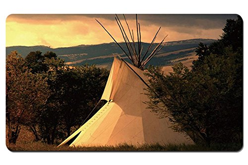 A Photo Of A Plains Indian Teepee At Sunrise - Large Gaming Mouse Pad - Tabletop Mat - -