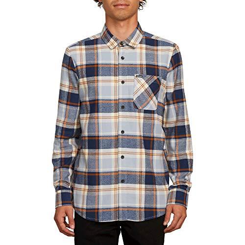 (Volcom Men's Caden Plaid Long Sleeve Flannel Shirt Slate)