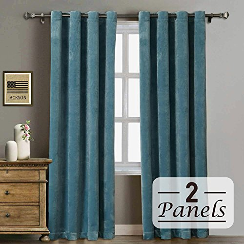 RHF Super Soft Velvet Curtain - Solid Matt Heavy Velvet Curtain-Drape Panel Super Soft Handfeel Luxury Nickel Grommet Curtains for Living Room/Bedroom/Home Theatre (W50 x L84 2Panels: Aqua (Velvet Grommet)